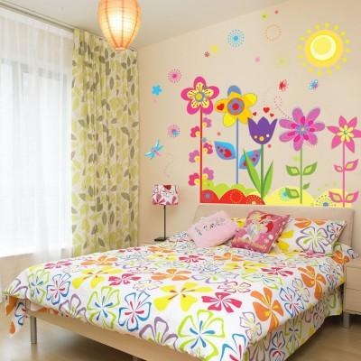 Oren Empower Pop Color Flowers With Butterflies & Sun Wall Decals