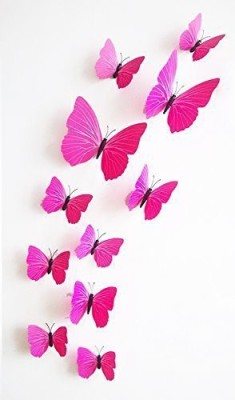Karp Small 12 Pcs 3D Butterfly-Plain Pink Magnetic Sticker
