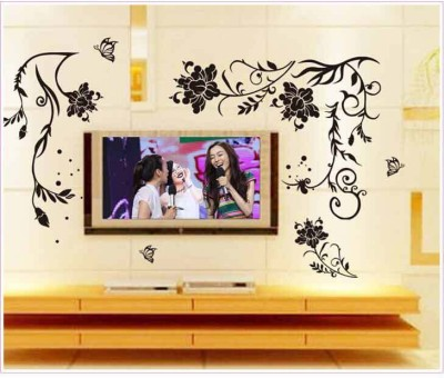 Oren Empower Creative Black Flower Art Wall Sticker(76 cm X cm 150, Black)