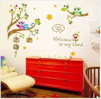 Oren Empower The Owl And A Tree And Photo Frame Wall Sticker(120 cm X cm 167, Multicolor)