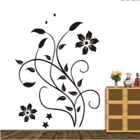 Oren Empower Stylish Swirl Flower Wall Decal(Black)