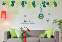 Oren Empower Green Leaf Decor Removable Diy Wall Stickers(120 cm X cm 260, Multicolor)