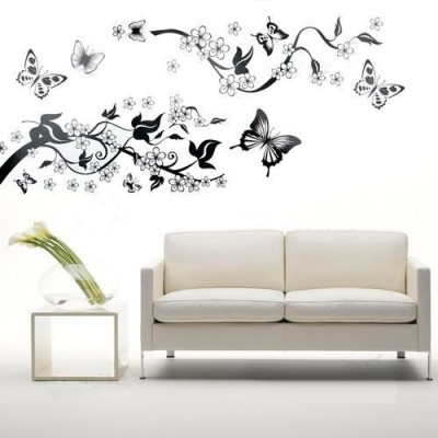 GrabDen Large Branch with Leaves and Butterflies Wall Sticker
