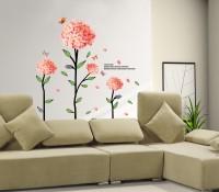 Oren Empower Korean Style Verbena Dance With Butterflies Wall Decals(130 cm X cm 130, Peach)