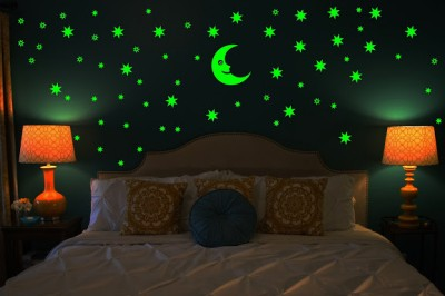 Wall Whispers Sticker Moon and 69 Star Glow in the Dark Glowing Sticker High Quality Phosphorescence Vinyl Sticker