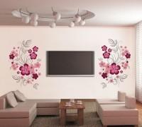 Oren Empower Very Sweet Decorative Pink Flower Wall Sticker(88 cm X cm 150, Multicolor)