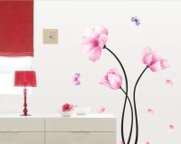 Oren Empower Pink Flower Pvc Removable Art Wall Sticker(100 cm X cm 85, Pink)