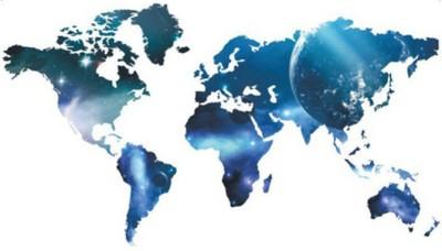 GrabDen Extra Large World Map Blue Wall Sticker