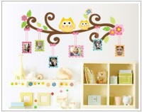 Oren Empower Owl Wall Sticker Frame Photo Wall Sticker(60 cm X cm 110, Multicolor)