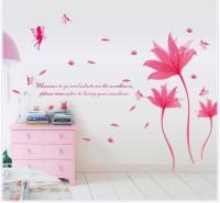 Oren Empower Romantic Beautiful Blue Flower Wall Sticker(137 cm X cm 190, Pink)