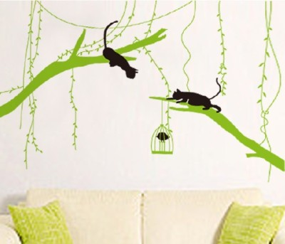 Oren Empower Black Cat Playing On Tree A Very Innovative Wall Decal