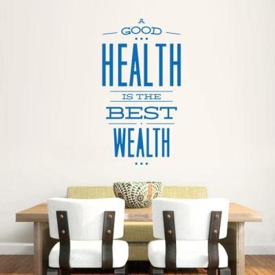 Hoopoe Decor Medium Health is Wealth Sticker