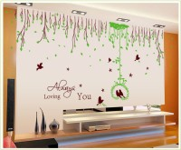 Oren Empower Super Grass Ring Feiyan Waist Flower Vine Wall Stickers(125 cm X cm 255, Green, Brown)
