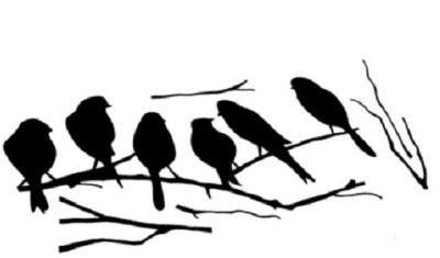GrabDen Medium 6 Birds On A Branch Sticker