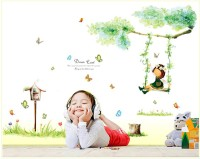 Oren Empower Cute Girl Swinging Decorative Wall Sticker(95 cm X cm 100, Multicolor)