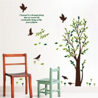 Oren Empower Autumn Tree With Birds Wall Decals(120 cm X cm 130, Multicolor)