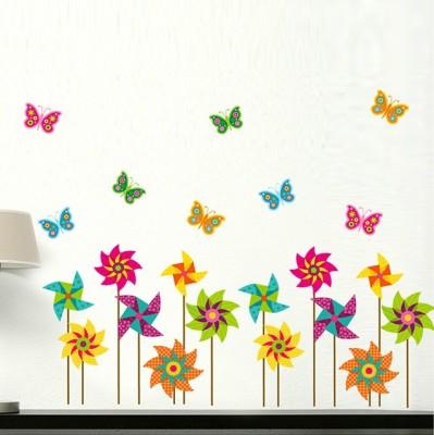 Oren Empower Standing Colorful Flower & Butterflies Wall Decals