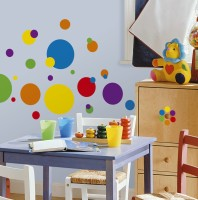 Nilaya by Asian Paints Small Just Dots Primary Sticker(Pack of 4)