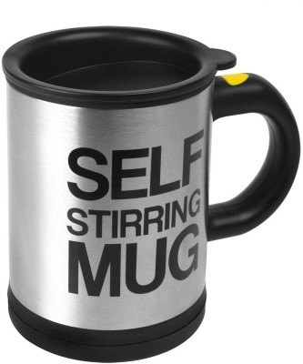 BonZeal Self Stirring Mug Plastic, Stainless Steel 11.5 cm Electric Stirrer(Silver, Black Pack of 1)