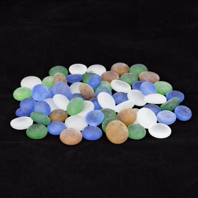Zeva PBST001 Polished Round Flint, Marble Pebbles(Multicolor 60 Pieces)