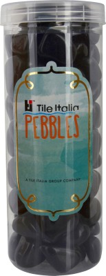 Tile Italia Pebbles Black Pebbles Polished Round Granite Pebbles(Black 1 kg)