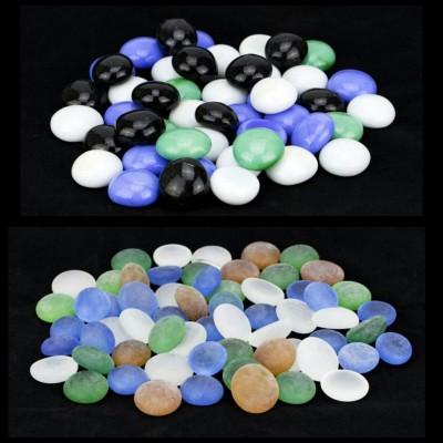 Zeva PBST005a Polished Round Flint, Marble Pebbles(Multicolor 80 Pieces)