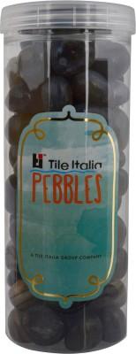 Tile Italia Pebbles Onyx Black & Onyx Grey Pebbles Polished Round Onyx Pebbles