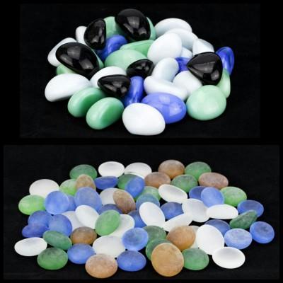 Zeva PBST004a Polished Round Flint, Marble Pebbles(Multicolor 80 Pieces)