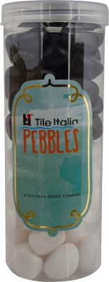 Tile Italia Pebbles White & Black Pebbles Polished Round Quartz Pebbles