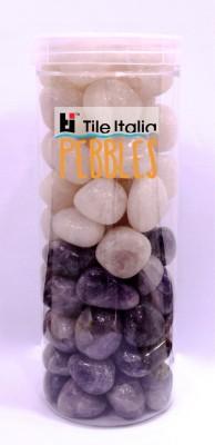Tile Italia Pebbles Rose Quartz & Amethyst Pebbles Polished Round Quartz Pebbles