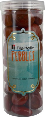 Tile Italia Pebbles Jasper Pebbles Polished Round Jasper Pebbles(Orange 1 kg)