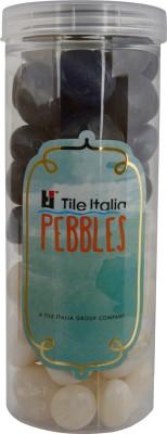 Tile Italia Pebbles Onyx White & Onyx Grey Pebbles Polished Round Onyx Pebbles
