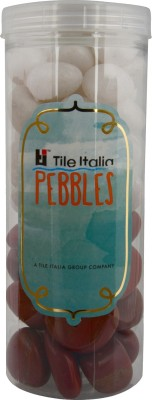Tile Italia Pebbles White & Jasper Pebbles Polished Round Jasper Pebbles