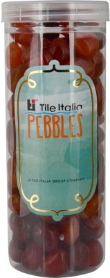 Tile Italia Pebbles Carnallion Pebbles Polished Round Quartz Pebbles(Orange 1 kg)
