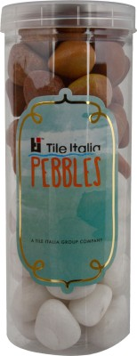 Tile Italia Pebbles White & Pink Pebbles Polished Round Quartz Pebbles