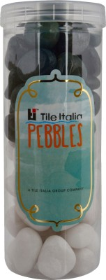 Tile Italia Pebbles White & Dark Green Pebbles Polished Round Quartz Pebbles
