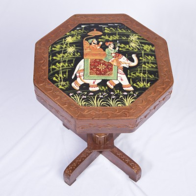 Smile2u Retailers Rajasthani Hand Painting Worked Living & Bedroom Stool(Multicolor)