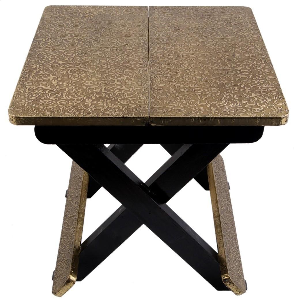 View JaipurCrafts Stool(Gold, Black) Furniture (JaipurCrafts)