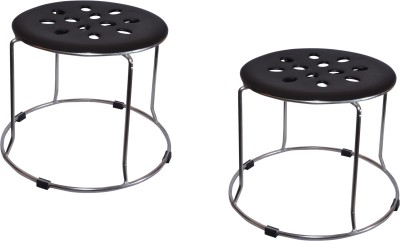 Zecado Solid Outdoor & Cafeteria Stool(Black)