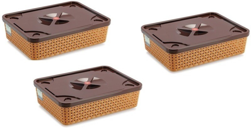 NAKODA Combo Of 3 Dune 111 With Lid Storage Basket(Pack of 3)