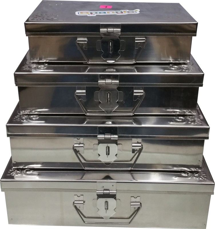 Spangle Storage Box Set OF 1 To 4 Storage Box(Steel)