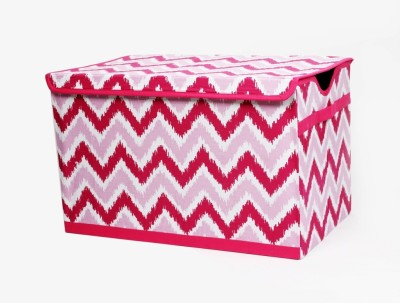 Bacati Mix N Match Pink Zigzag Ikat Toy Chest Storage Box(Multicolor)