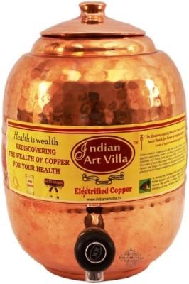 Indian Art Villa Pure Copper Water Pot Storage Tank With Tap Kitchen Home Garden Health Ayurveda 5 L Drum