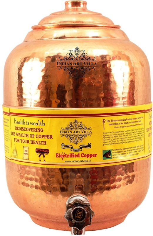 Indian Art Villa Copper Water Storage Pot Tank Dispenser Pure Copper Water Pot Storage Tank With Tap Kitchen Home Garden Health Ayurveda 5 L Drum(Copper, Pack of 1)