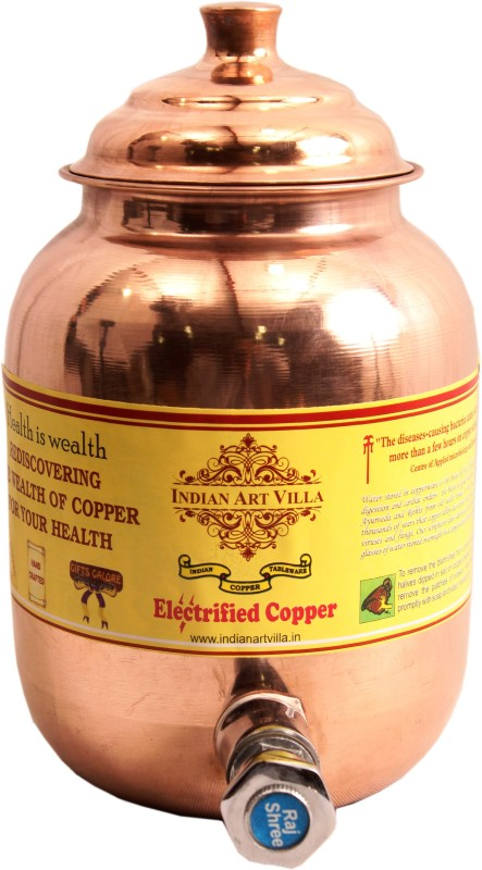 Indian Art Villa Pure Copper 1.5 Ltr. Water Pot Storage Tank With Tap Kitchen Home Garden Health Ayurveda 1.5 L Drum(Copper, Pack of 1)