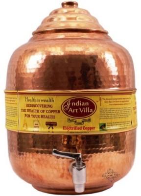 Indian Art Villa Pure Copper 8 ltr. Water Pot Storage Tank With Tap Kitchen Home Garden Health Ayurveda 8 L Drum