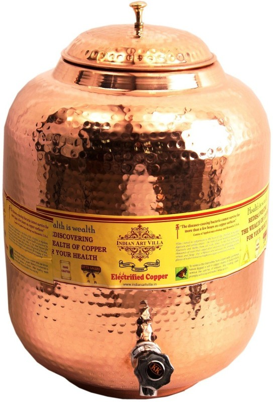 Indian Art Villa Copper Water Pot Tank Dispenser with Tap Pure Copper 8 ltr. Water Pot Storage Tank With Tap Kitchen Home Garden Health Ayurveda 8 L Drum(Copper, Pack of 1)