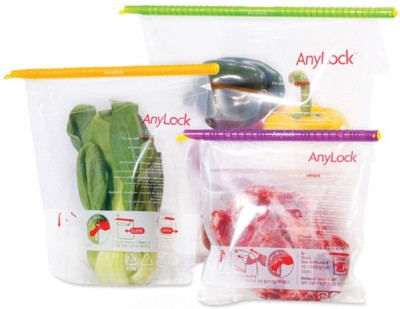 Anylock Bag Sealer Stick with Bags to Keep Food Fresh (Set of 3 bags with sealing sticks) Plastic Storage Pouch(Pack of 6)