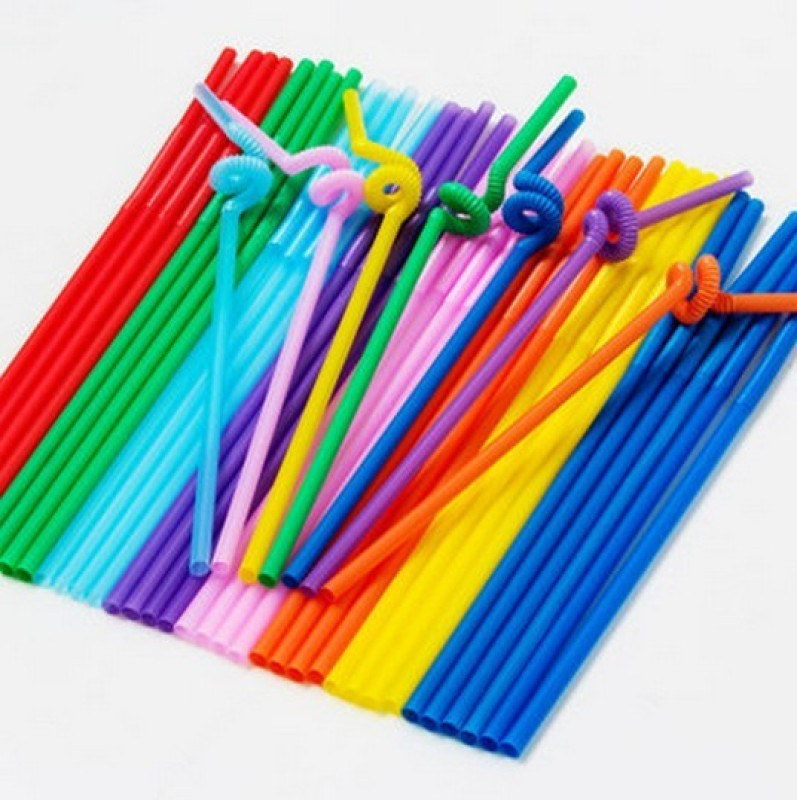 Blossoms Bendable Drinking Straw(Multicolor, Pack of 100)