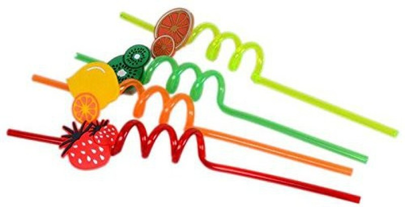 Kitchen Jazz Crazy Drinking Straw(Multicolor, Pack of 4)